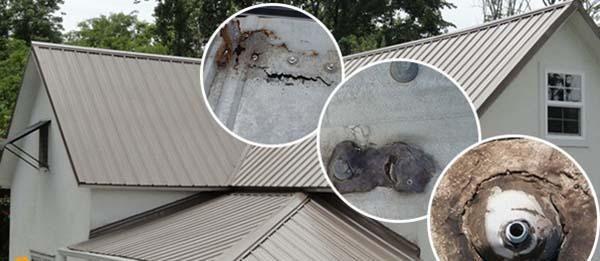 Mái tôn bị dột ở vị trí mũ đinh bị rỉ