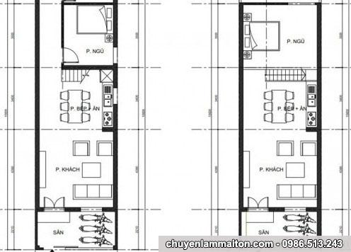 Bản vẽ nhà cấp 4 mái tôn 4x15m