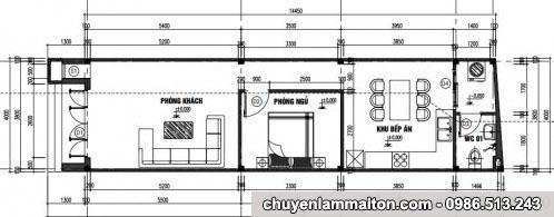 Bản vẽ nhà cấp 4 mái tôn 4x14m