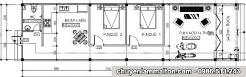bản vẽ nhà cấp 4 mái tôn 5x19