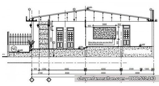 Bản vẽ nhà cấp 4 mái tôn 6x15m