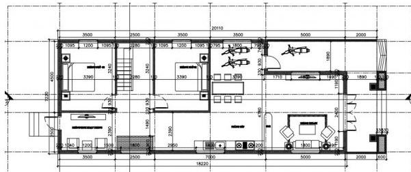Bản vẽ mặt bằng nhà cấp 4 mái tôn 7x20m