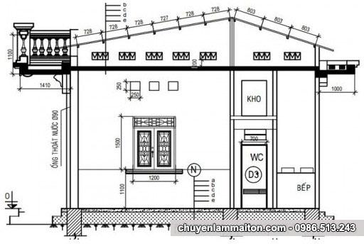 Bản vẽ thiết kế nhà cấp 4 lơp mái tôn chống nóng