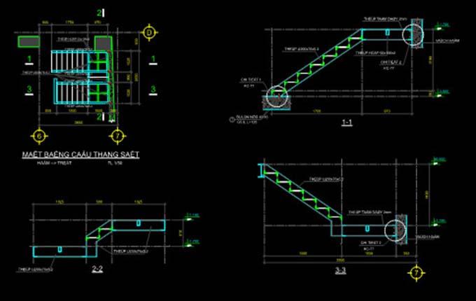 Bản vẽ kết cấu cầu thang sắt