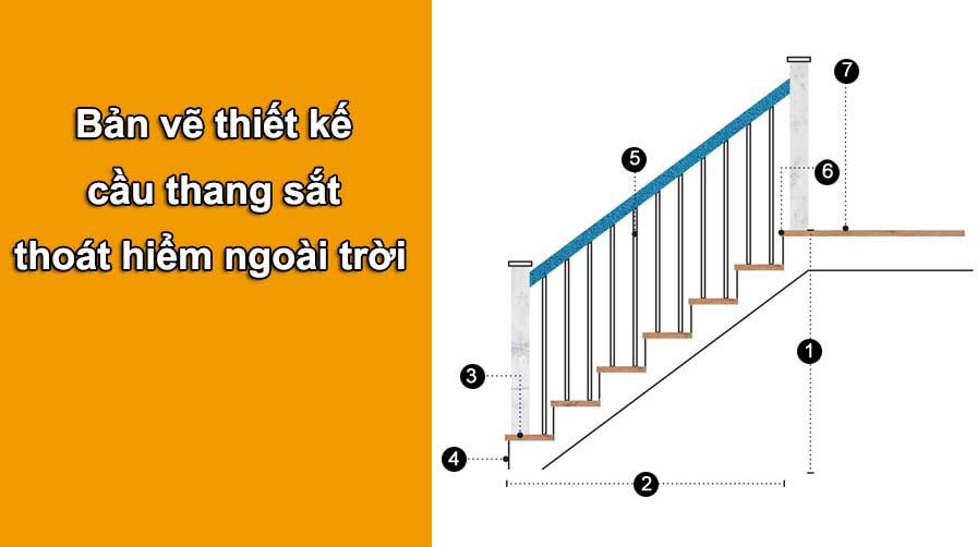 Bản vẽ thiết kế cầu thang sắt