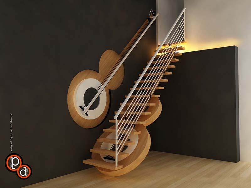Cầu thang sắt mặt gỗ hình xương cá 10