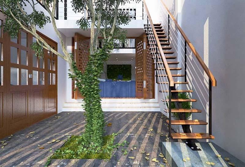 Cầu thang sắt mặt gỗ hình xương cá 20