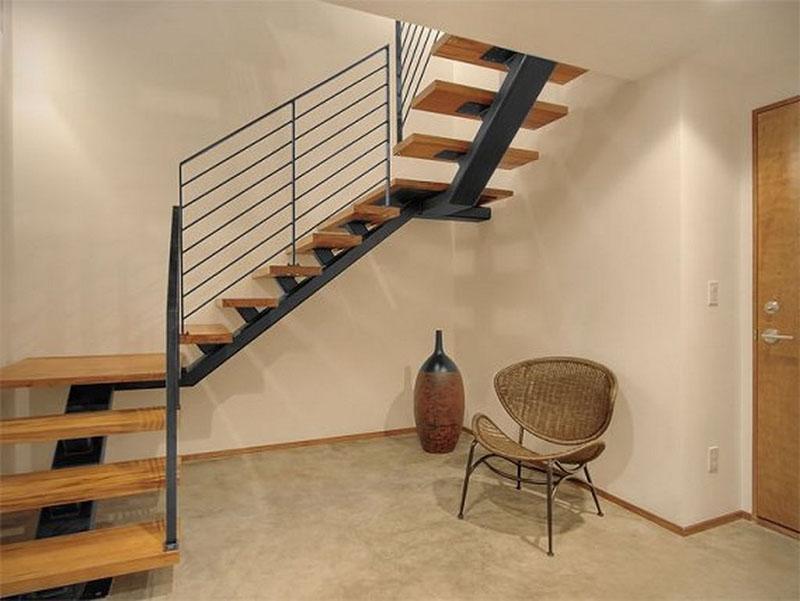 Cầu thang sắt mặt gỗ hình xương cá 21