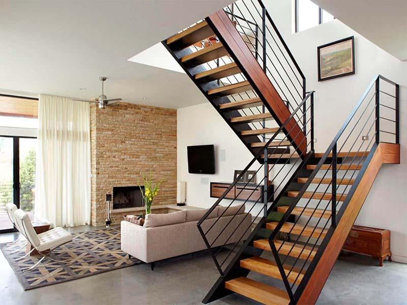 Cầu thang sắt mặt gỗ hình xương cá 28