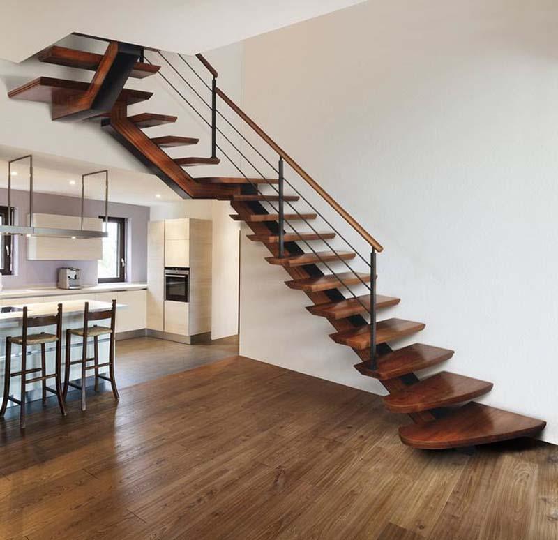 Cầu thang sắt mặt gỗ hình xương cá 3