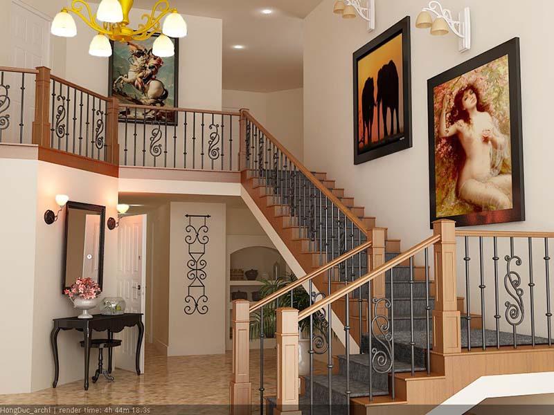 Cầu thang sắt nghệ thuật tay vịn gỗ 17