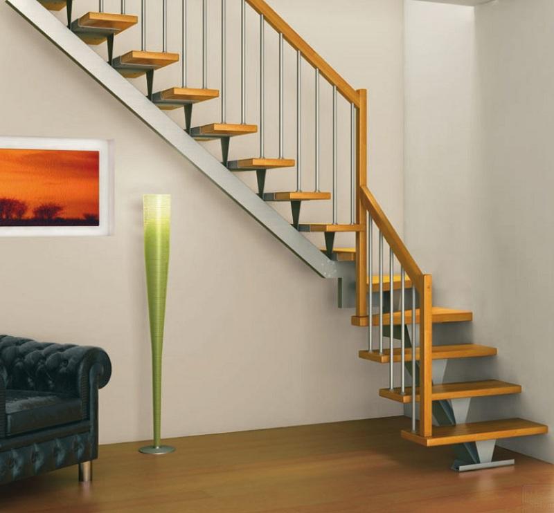 Cầu thang sắt tay vịn gỗ 8