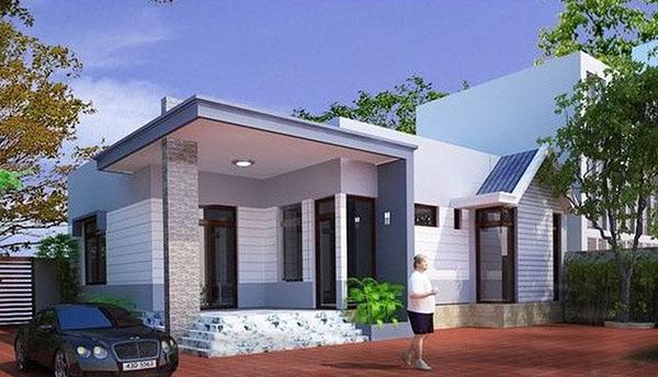 mẫu thiết kế nhà mái bằng 1 tầng ở nông thôn
