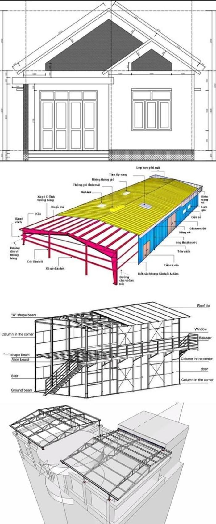 Bản vẽ nhà khung sắt mái tôn