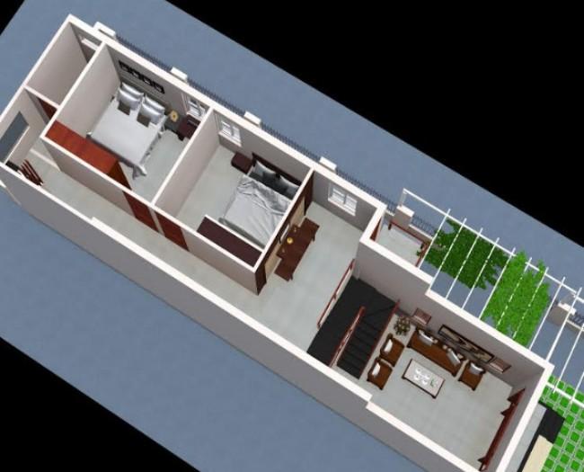 Mẫu nhà cấp 4 mái thái 5x15 2 phòng ngủ