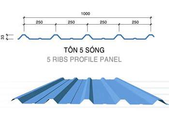 Tôn 5 sóng lợp mái nhà xưởng