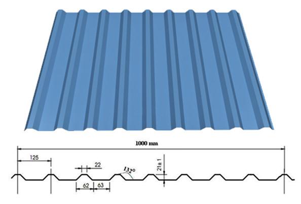 Kích thước tôn 9 sóng vuông mạ màu