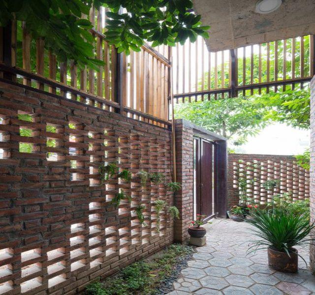 Mẫu tường rào cổng ngõ bằng gạch 2