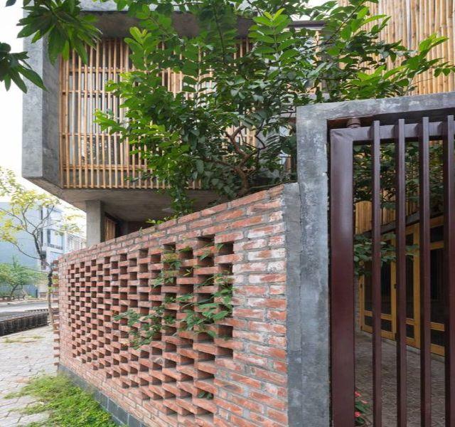 Mẫu tường rào cổng ngõ bằng gạch 3