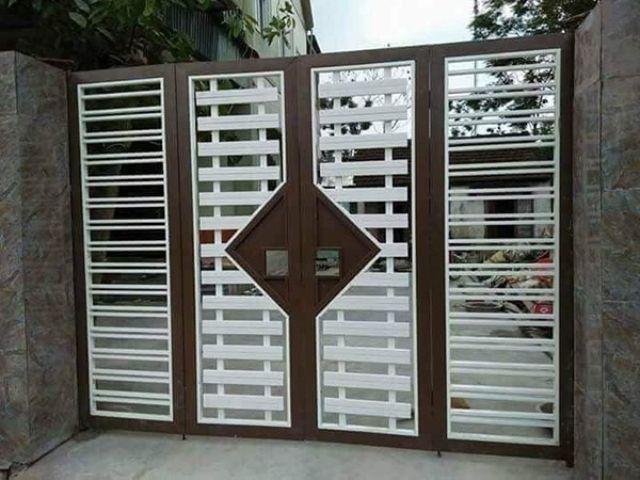 cửa cổng sắt 4 cánh đẹp 1