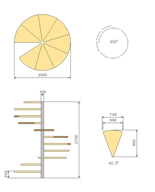Kích thước chuẩn của cầu thang xoắn?