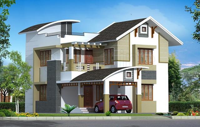 mẫu nhà 2 tầng mái tôn 1