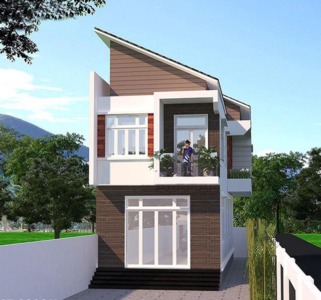 mẫu nhà 2 tầng mái tôn 10