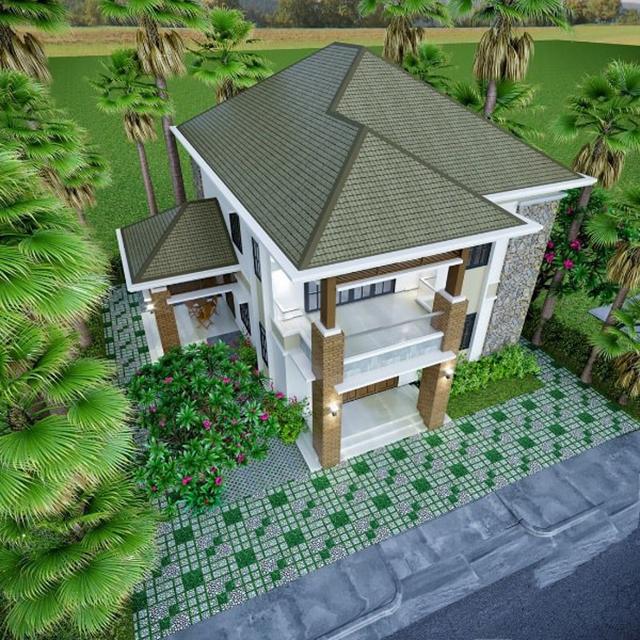 mẫu nhà 2 tầng mái tôn 5