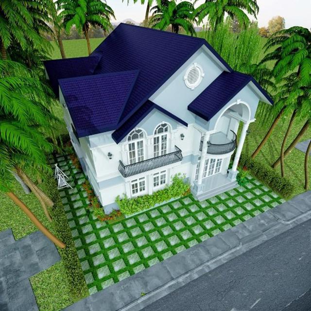 mẫu nhà 2 tầng mái tôn 6