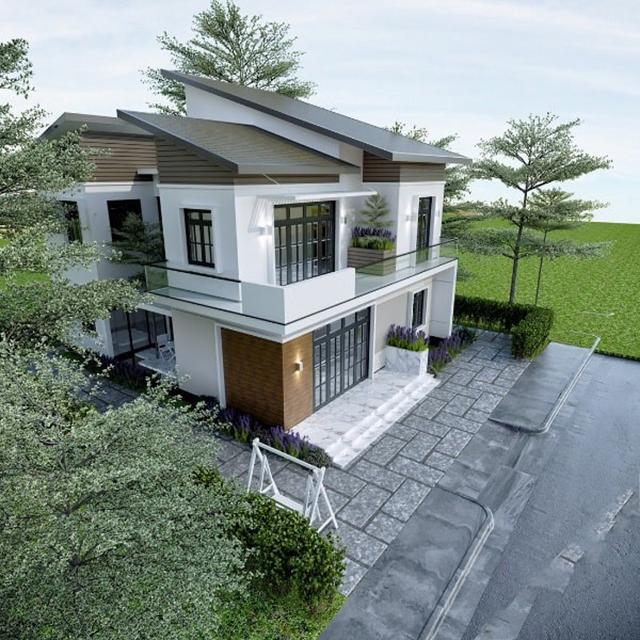 mẫu nhà 2 tầng mái tôn 7