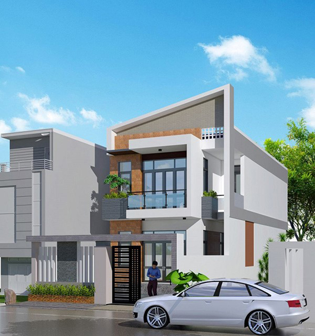 mẫu nhà 2 tầng mái tôn 8
