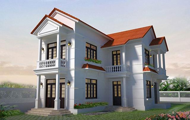 mẫu nhà 2 tầng mái tôn 9