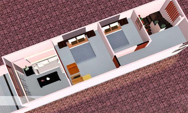Mẫu nhà cấp 4 gác lửng mái tôn 4x12m